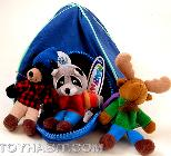 Wildlife Set-  Moose, Racoon and Bear camping-Finger puppets in a Tent